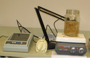 Simple experimental set up with EC meter, timer, and hot plate stirring device