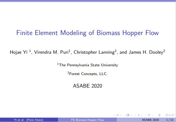 Finite Element Modeling of Biomass Hopper Flow